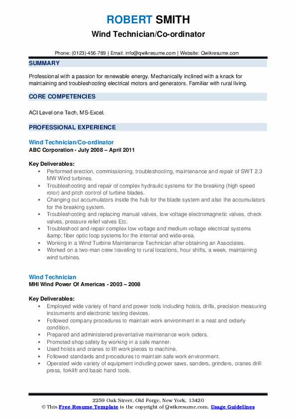 wind technician resume samples  qwikresume