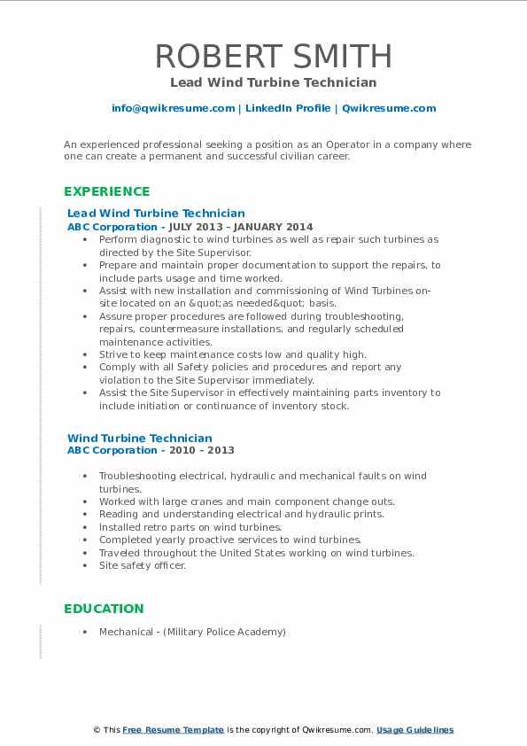 Lead Wind Turbine Technician Resume Format