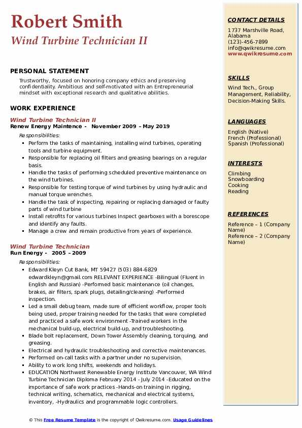 Wind Turbine Technician II Resume Format