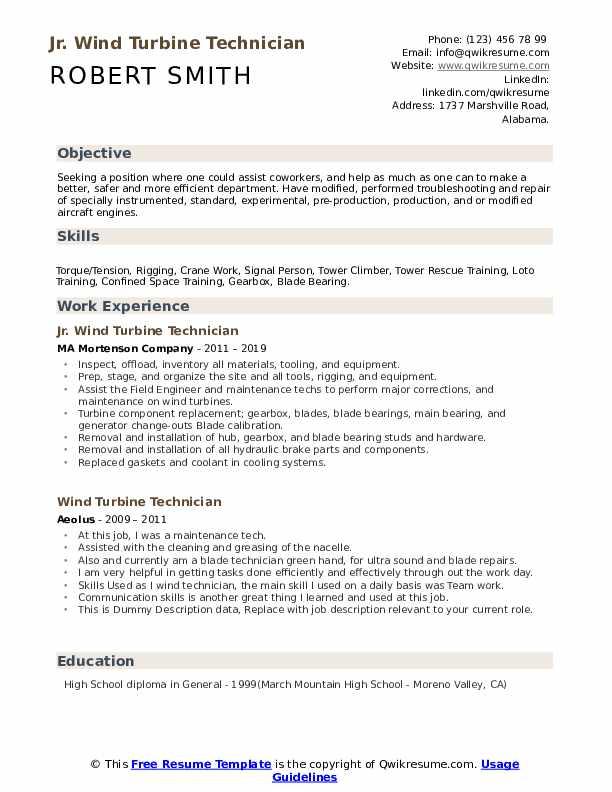 Jr. Wind Turbine Technician Resume Model