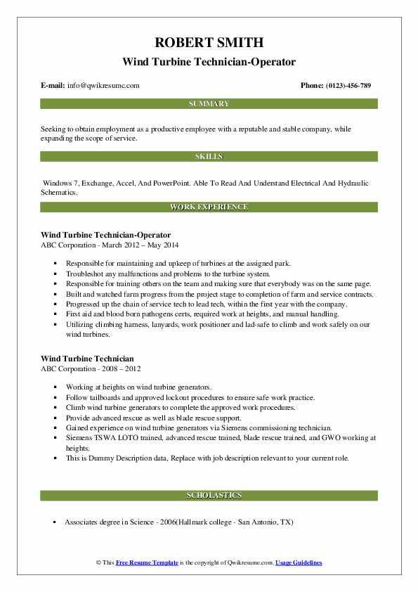 Wind Turbine Technician-Operator Resume Format