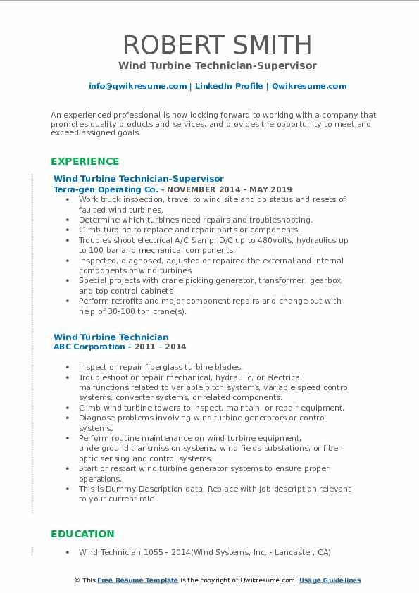 Wind Turbine Technician-Supervisor Resume Model