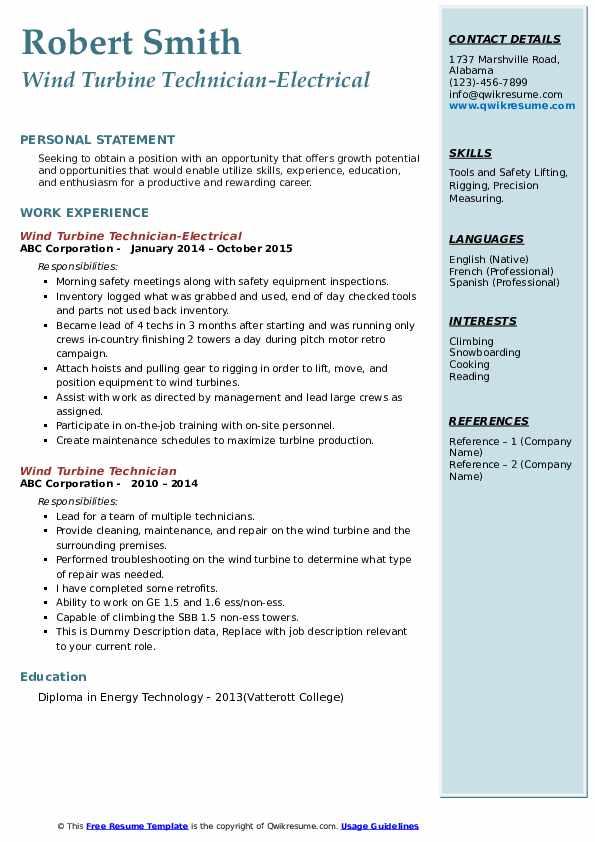 Wind Turbine Technician-Electrical Resume Template