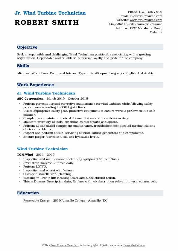 wind turbine technician resume samples