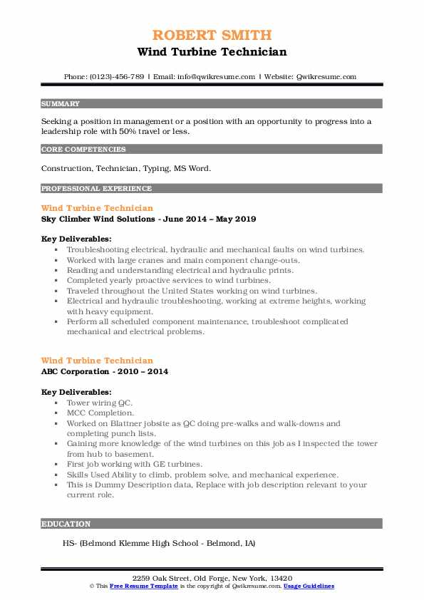 Wind Turbine Technician Resume example