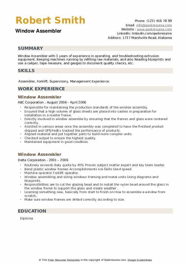 Window Assembler Resume example