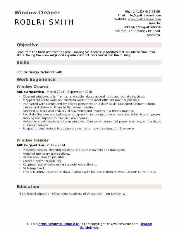 Window Cleaner Resume example