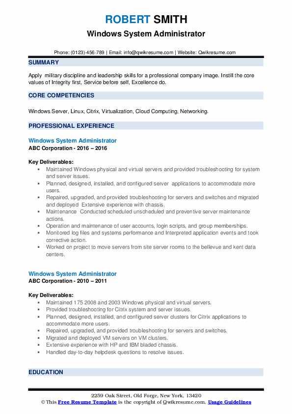 Windows System Administrator Resume example