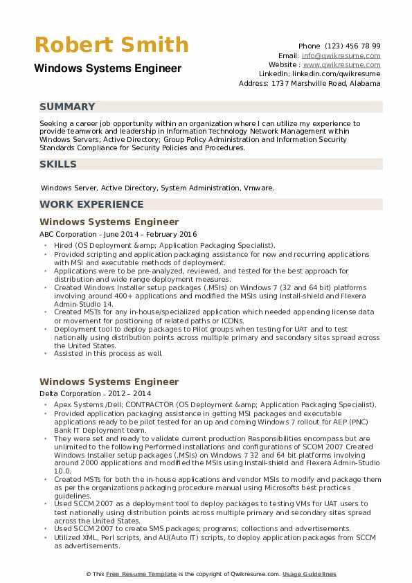 Windows Systems Engineer Resume example