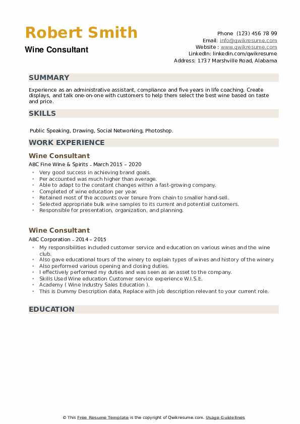 Wine Consultant Resume example