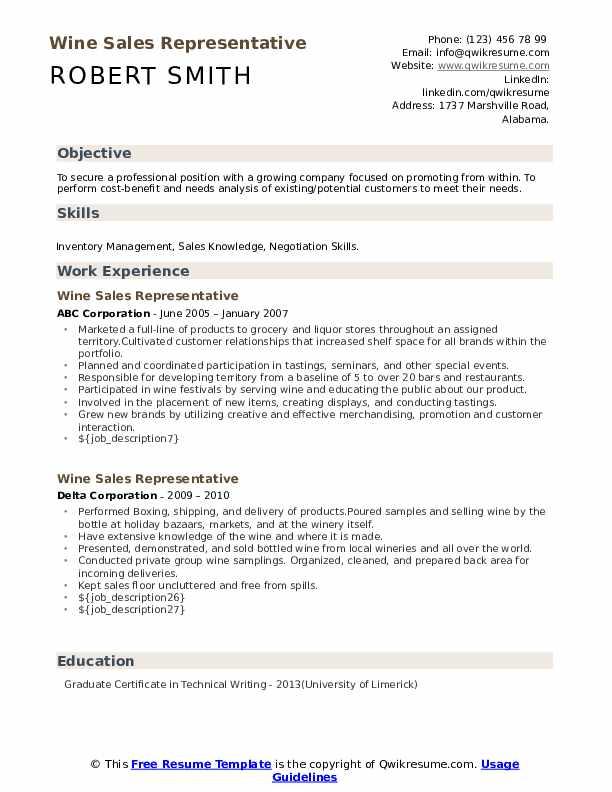 wine sales representative resume samples  qwikresume
