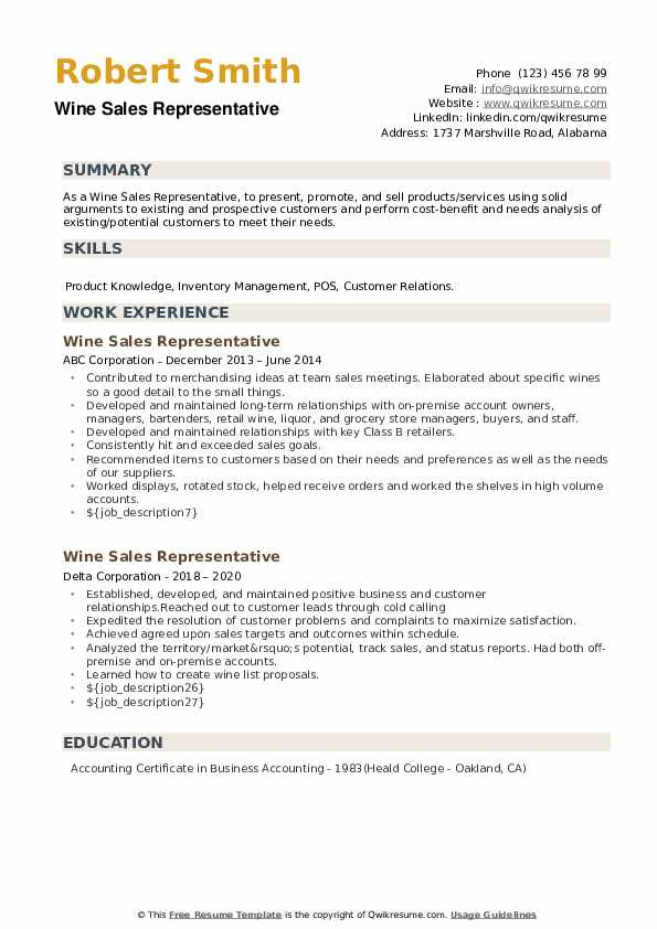 Wine Sales Representative Resume example