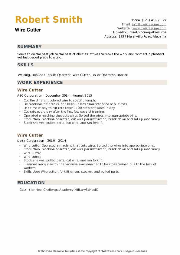 Wire Cutter Resume example