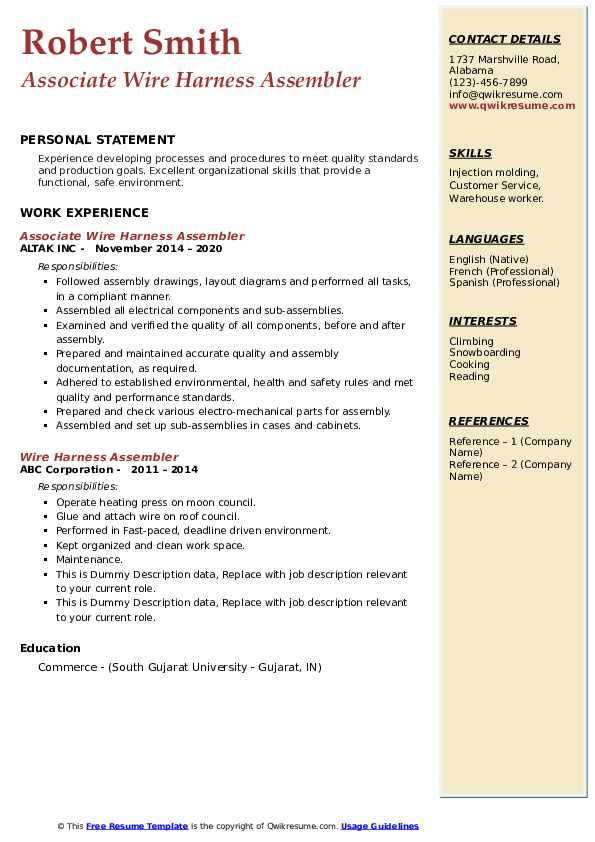 wire harness assembler resume samples  qwikresume