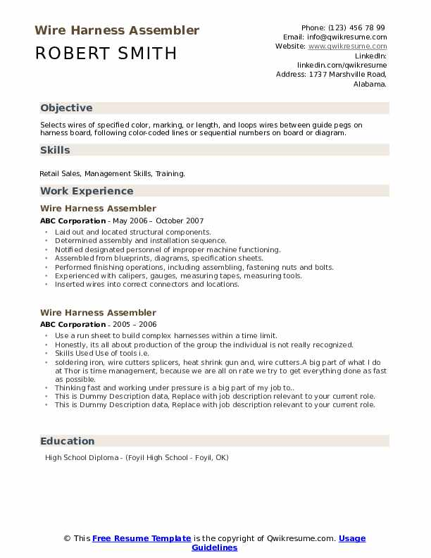 Wire Harness Assembler Resume example
