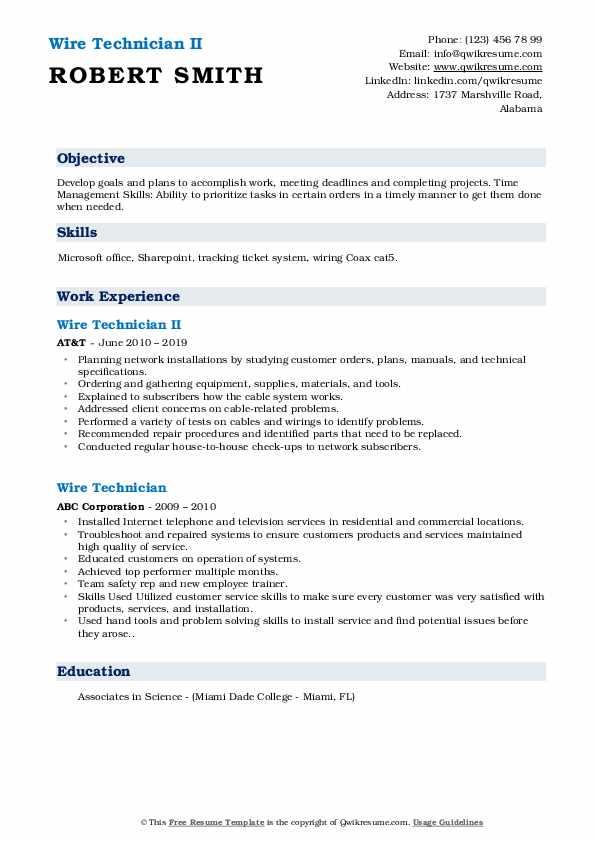 Wire Technician II Resume Template