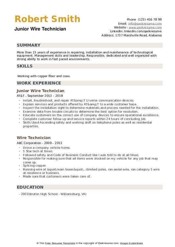 Junior Wire Technician Resume Template