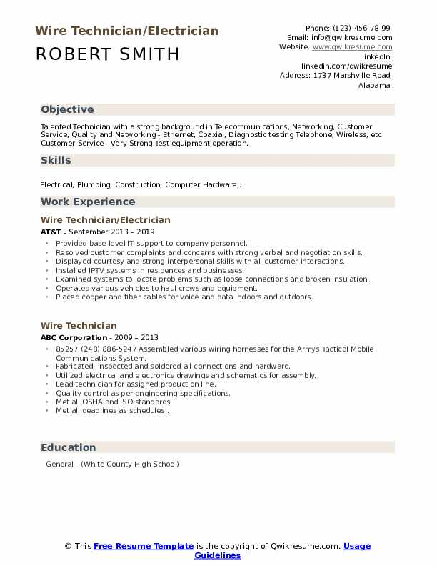 Wire Technician/Electrician Resume Format