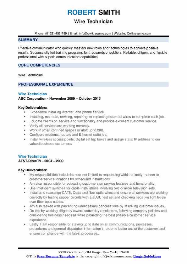 Wire Technician Resume example