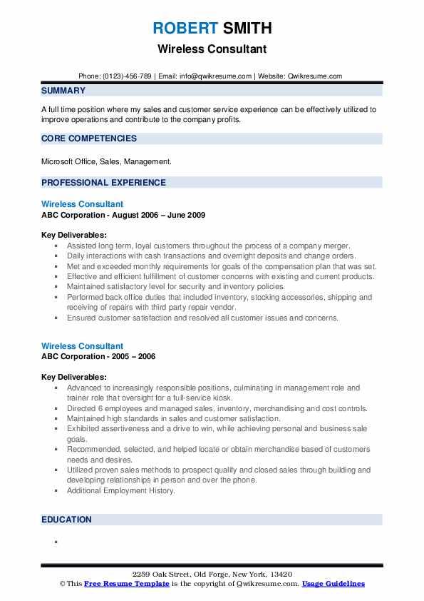 Wireless Consultant Resume example