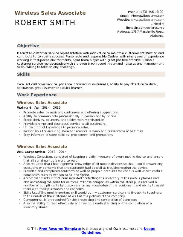 Wireless Sales Associate Resume Samples Qwikresume