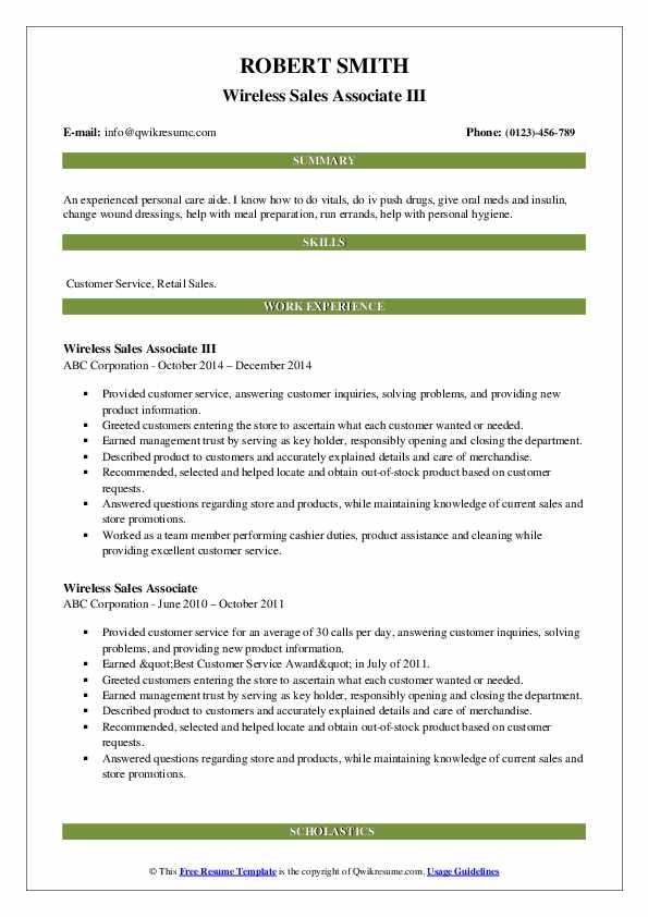 Wireless Sales Associate III Resume Sample
