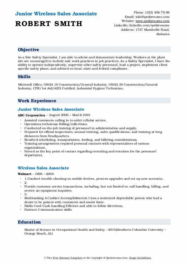 Junior Wireless Sales Associate Resume Template