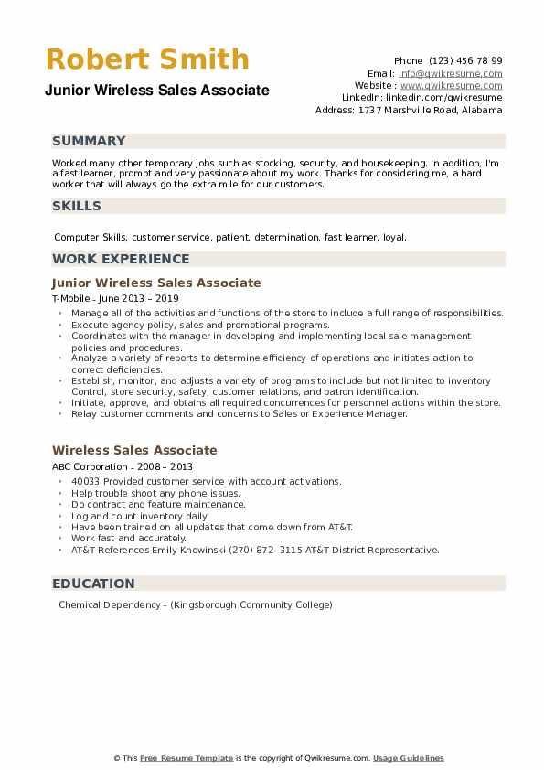 Junior Wireless Sales Associate Resume Model