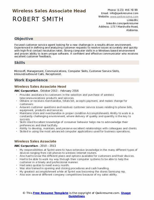 Wireless Sales Associate Head Resume Template