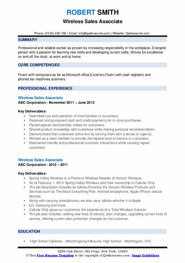 Wireless Sales Associate Resume example
