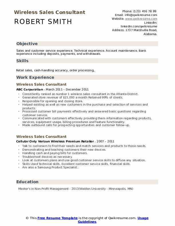 Wireless Sales Consultant Resume Format