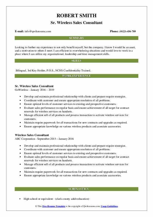 Sr. Wireless Sales Consultant Resume Sample
