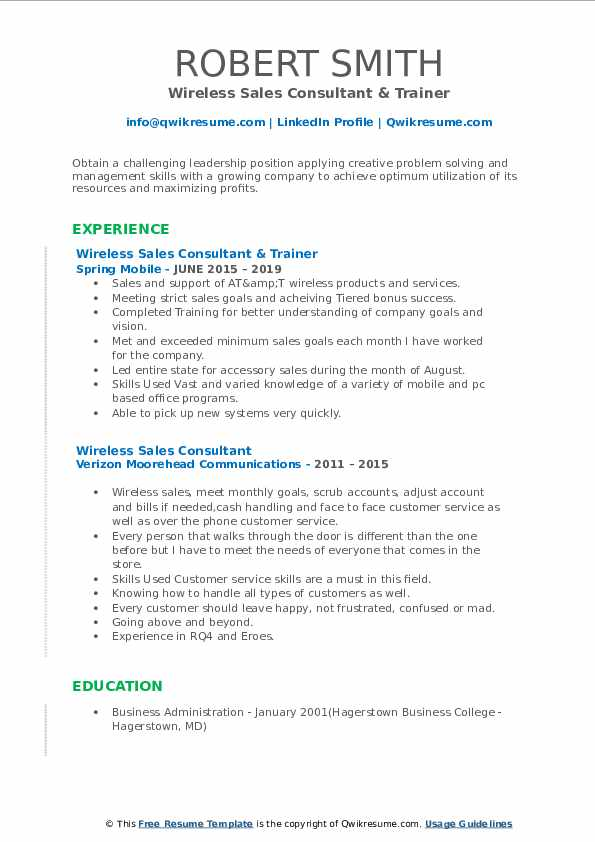 wireless sales consultant resume samples