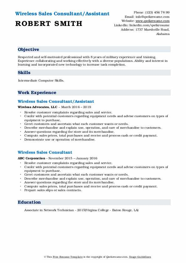 Wireless Sales Consultant/Assistant Resume Example