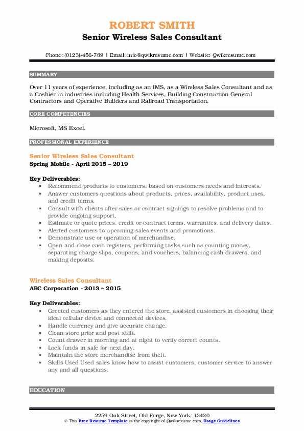 Senior Wireless Sales Consultant Resume Format