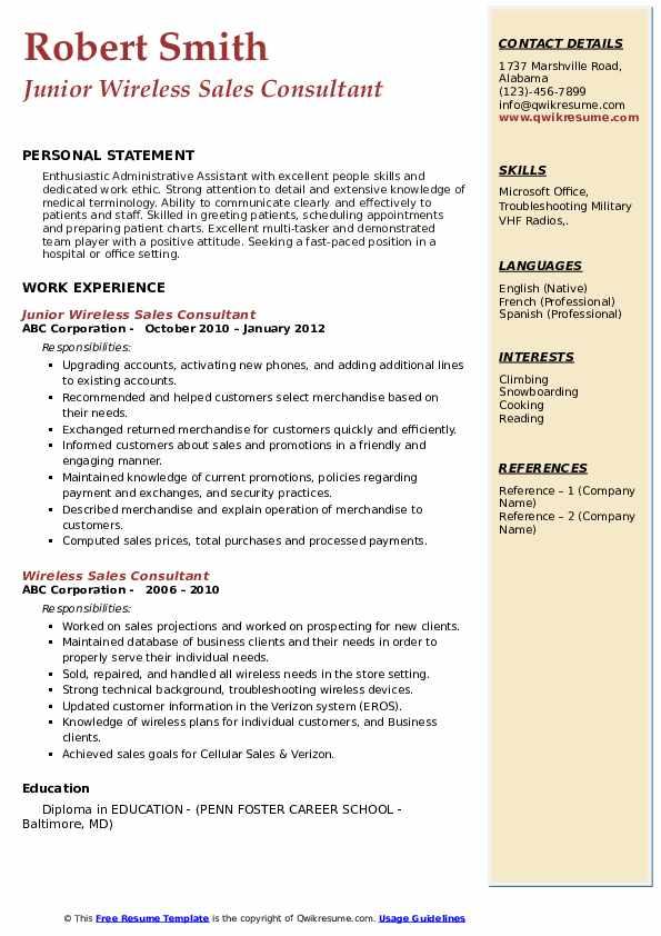 Junior Wireless Sales Consultant Resume Example
