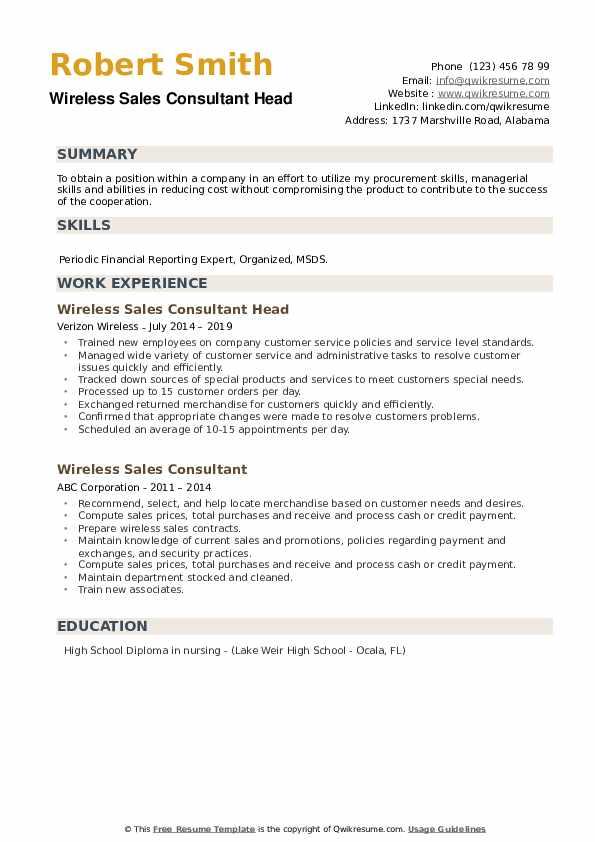 Wireless Sales Consultant Head Resume Example