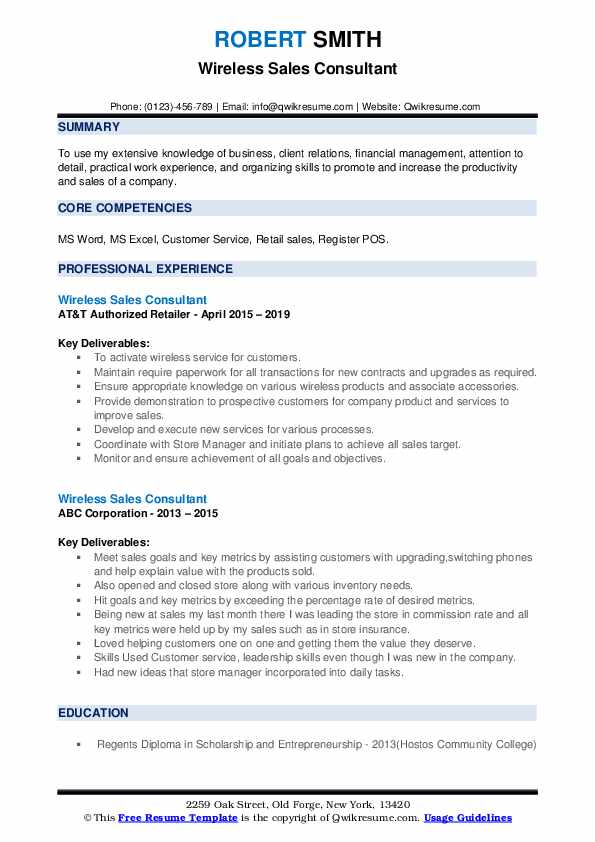 Wireless Sales Consultant Resume Samples Qwikresume