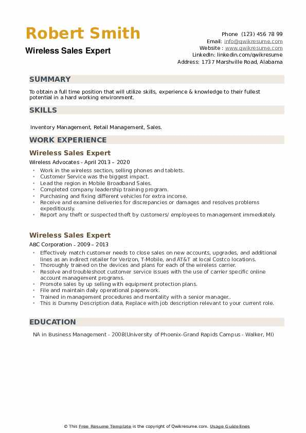 Wireless Sales Expert Resume example
