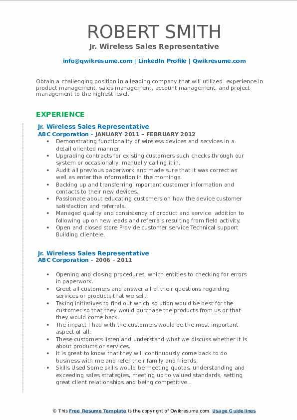 wireless sales representative resume samples