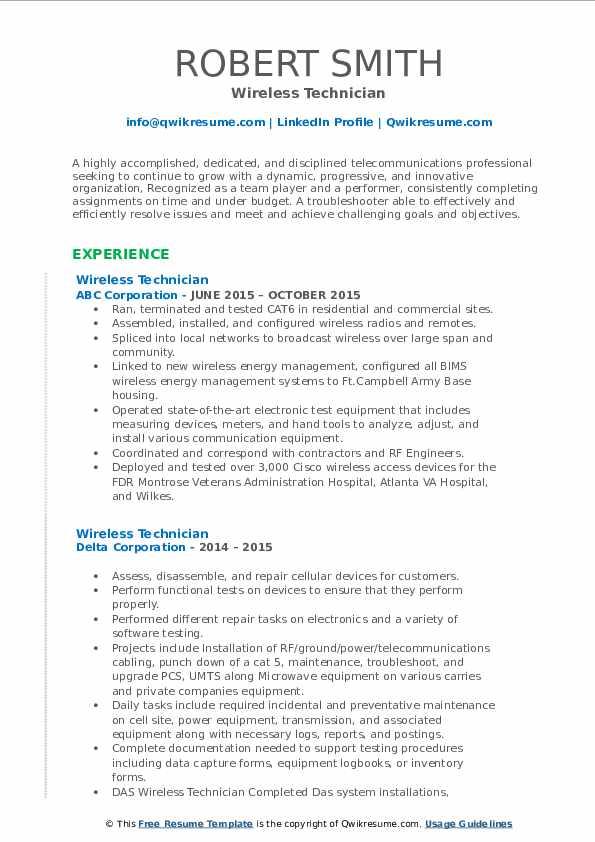 wireless technician resume samples  qwikresume