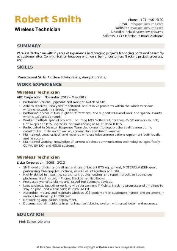 Wireless Technician Resume example