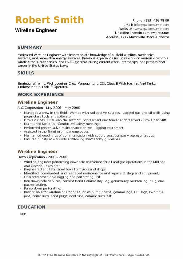 Wireline Engineer Resume example