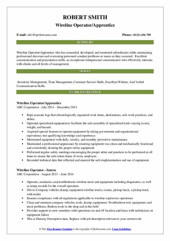 Wireline Operator/Apprentice Resume Example