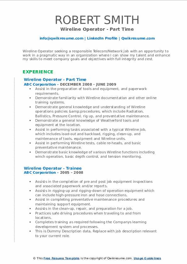 Wireline Operator - Part Time Resume Format