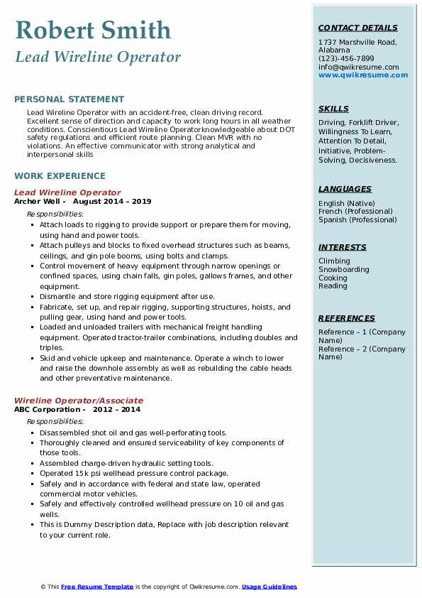 Lead Wireline Operator Resume Example