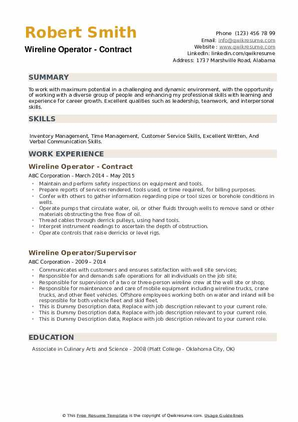 Wireline Operator - Contract Resume Model