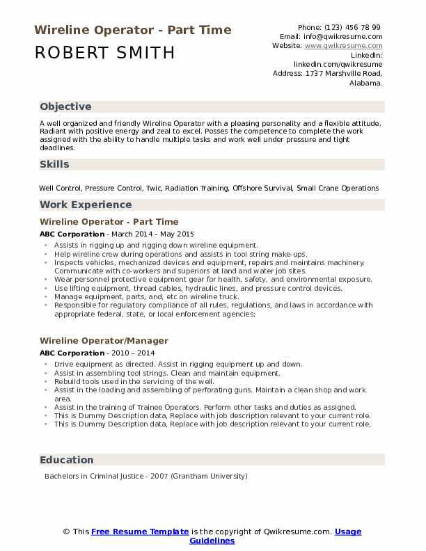 Wireline Operator - Part Time Resume Template