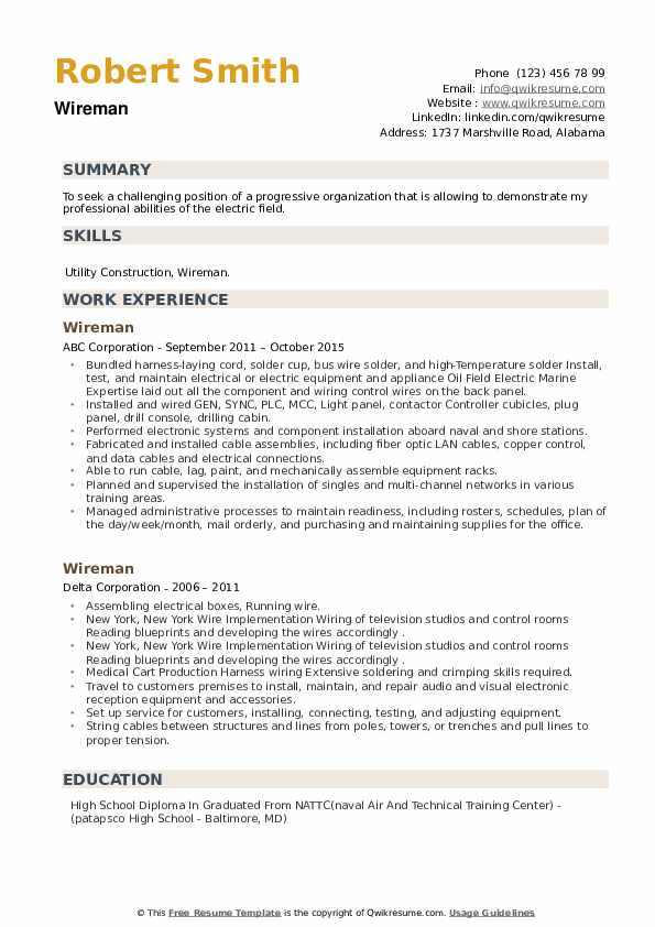 Wireman Resume example
