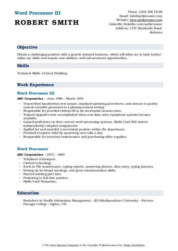 Word Processor Resume Samples | QwikResume